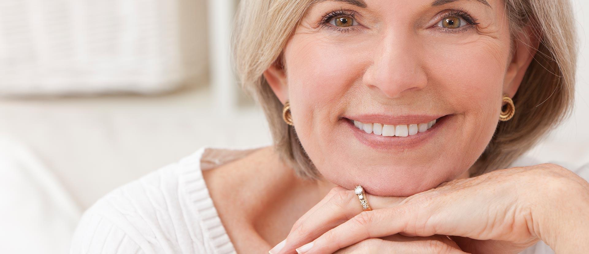 Woman wearing a denture